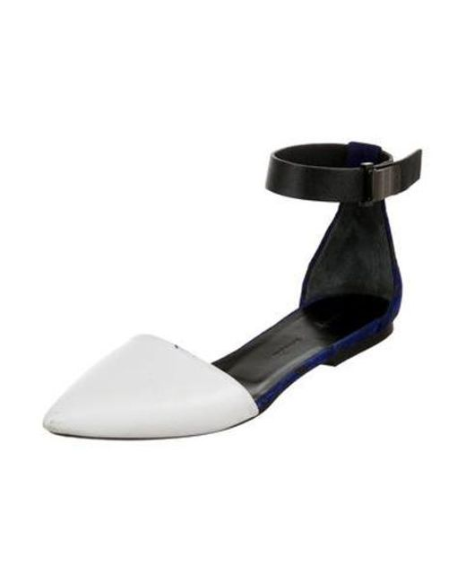 adf1661eb85 ... Proenza Schouler - Metallic Leather Ankle-strap Flats White - Lyst ...