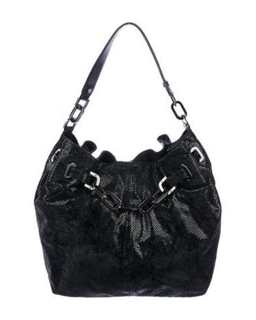 efc3c0894c2e Tory Burch - Natural Embossed Leather Natalya Hobo Black - Lyst ...