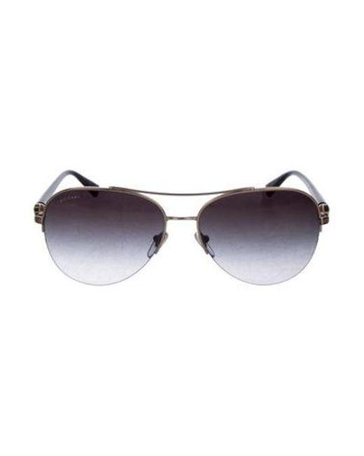 6bf289389ed5 BVLGARI - Metallic Gold-plated Aviator Sunglasses Black - Lyst ...