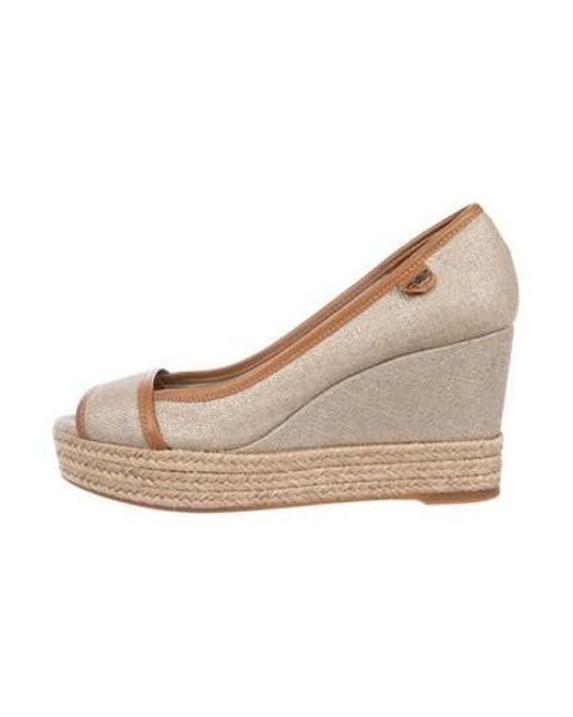 1492fa66a0475 Tory Burch - Natural Leather-trimmed Wedge Pumps Beige - Lyst ...