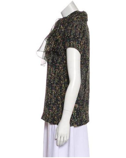 0736e3e7db ... Giambattista Valli - Black Printed Silk Top - Lyst ...