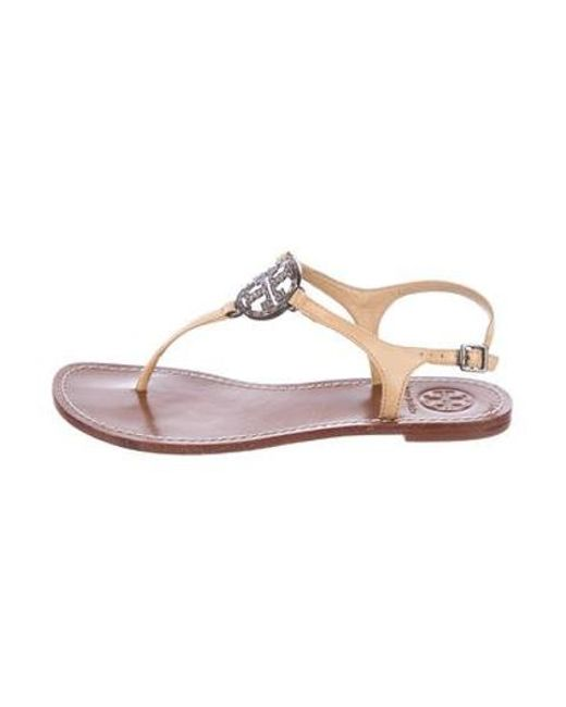 177d2ef796c4 Tory Burch - Natural Leather Logo Sandals Nude - Lyst ...