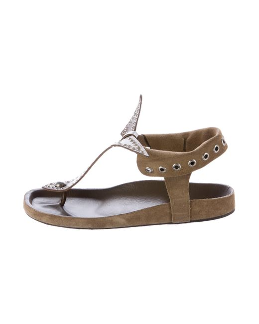 Isabel Marant | Metallic Edris Embellished Sandals Olive | Lyst