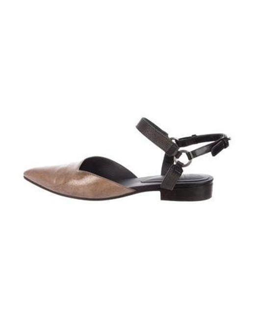 8041de40ff6 Brunello Cucinelli - Metallic Monili Ankle-strap Flats - Lyst ...