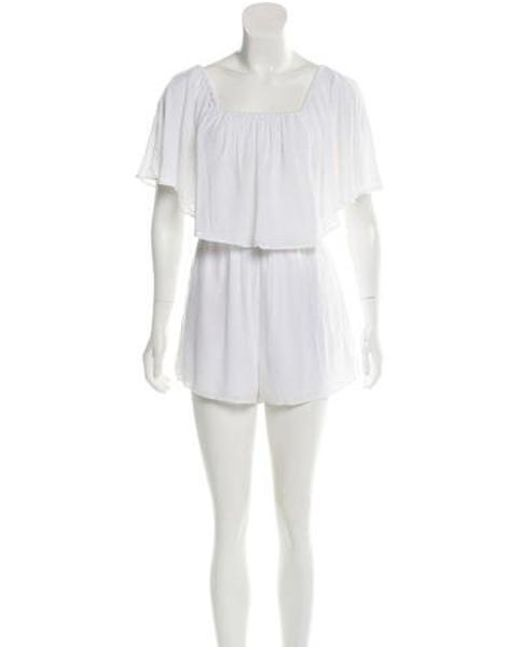 6321dce4ae98 Alice + Olivia - White High-rise Overlay Romper W  Tags - Lyst ...