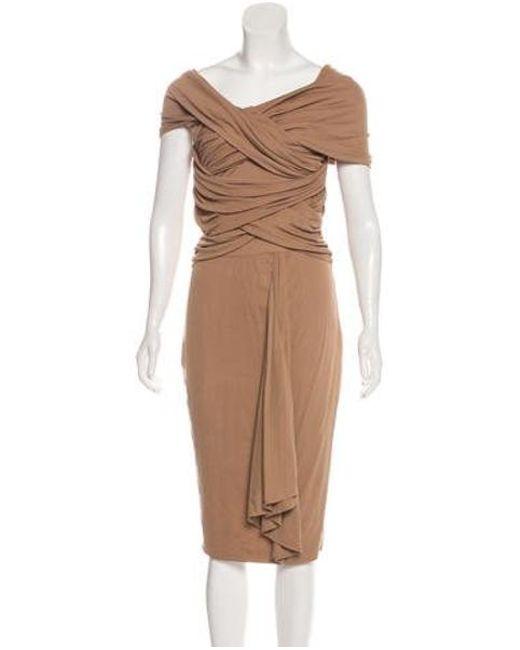 9cd443a79d Giambattista Valli - Brown Silk Jersey Midi Dress - Lyst ...
