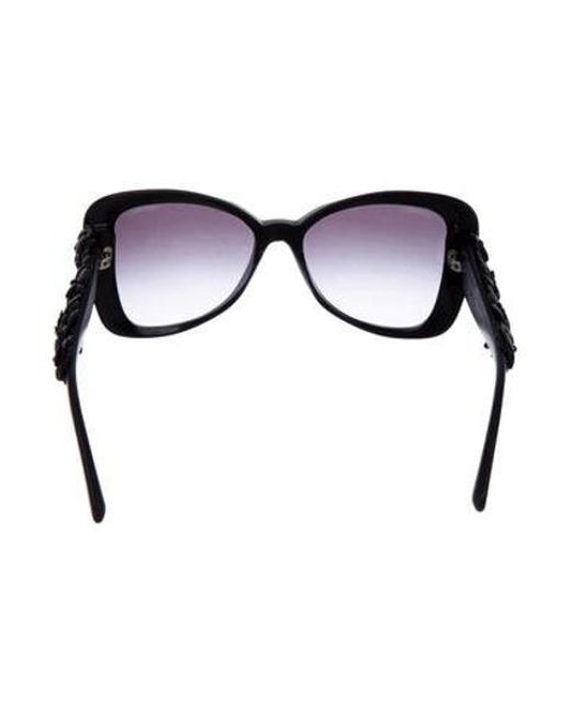 7c28af0314d ... Chanel - Black Camelia Butterfly Sunglasses - Lyst