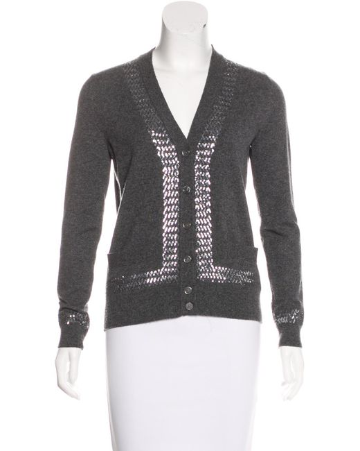 Marc jacobs Cashmere Sequin Cardigan in Gray | Lyst