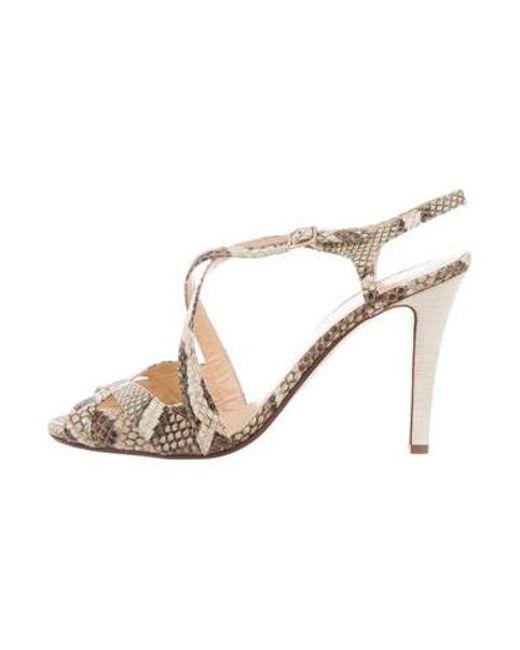 0dc9eb042e39 Kate Spade - Metallic Isadora Embossed Sandals Tan - Lyst ...
