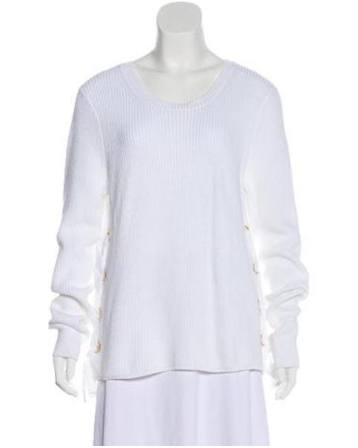 da8850578c4 MICHAEL Michael Kors - White Michael Kors Lace-up Knit Sweater - Lyst ...