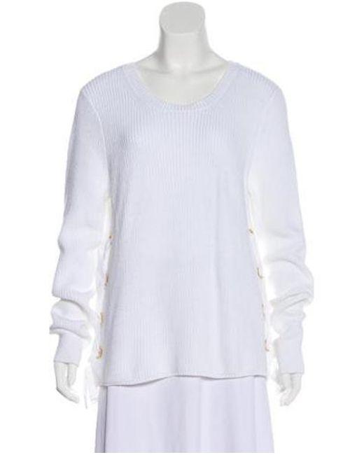 e24ee4dbb601d MICHAEL Michael Kors - White Michael Kors Lace-up Knit Sweater - Lyst ...