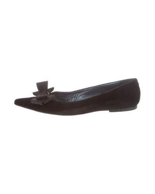 lyst manolo blahnik velvet pointed toe flats in black rh lyst com