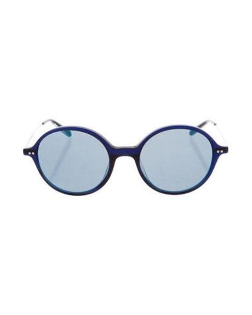 992b2581f193 Oliver Peoples - Blue Tinted Round Sunglasses - Lyst ...