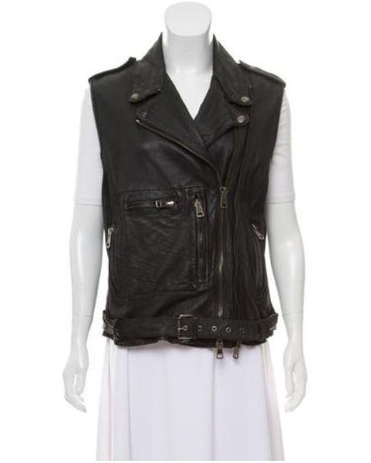 255c4bd0459f R13 - Black Notch-lapel Leather Vest - Lyst ...