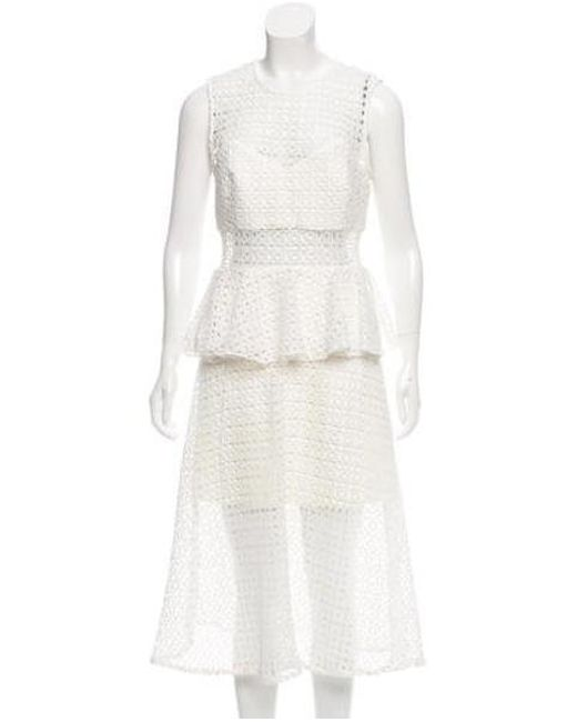 bb734a66f880 Self-Portrait - Metallic Crochet Peplum Dress W/ Tags Gold - Lyst ...