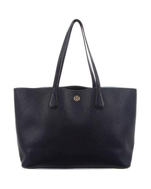 b87495e1b927 Tory Burch - Metallic Leather Perry Tote Blue - Lyst ...