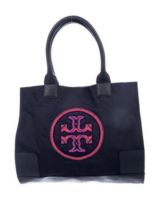 2d7884a58ac Tory Burch - Metallic Ella Embellished Logo Tote Navy - Lyst ...