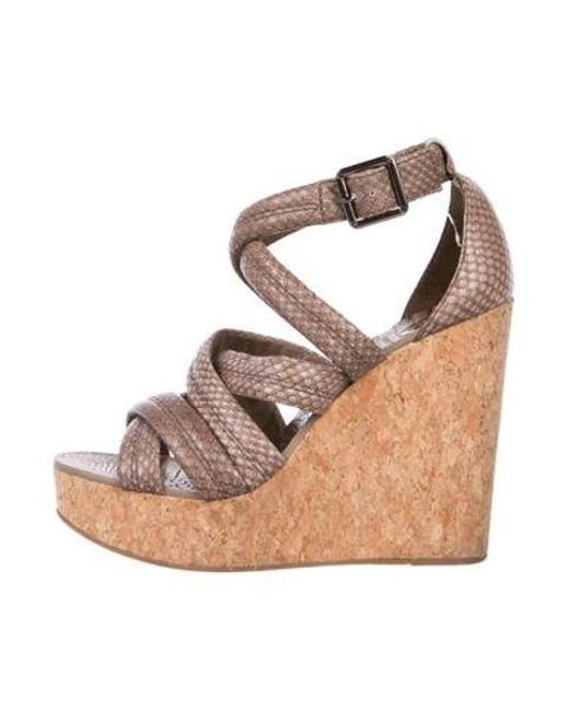 656049a776a Tory Burch - Natural Embossed Crossover Wedges Neutrals - Lyst ...
