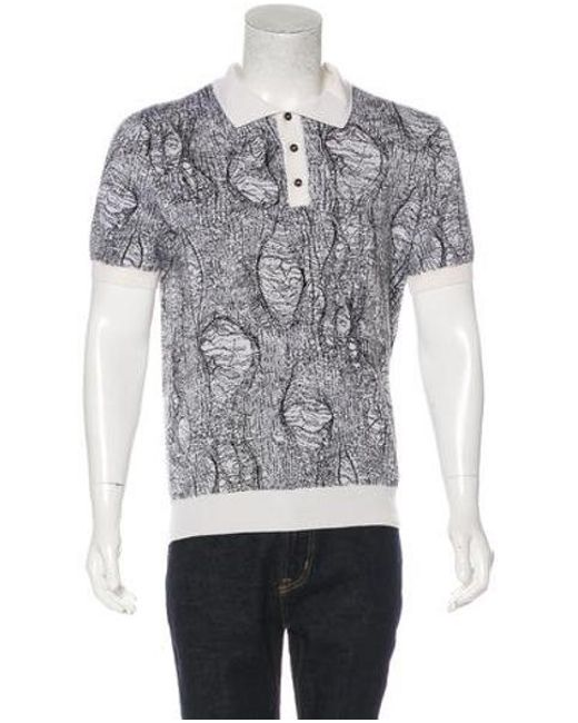 1b660fb4 Dior Homme - Gray Patterned Knit Polo Shirt Black for Men - Lyst ...
