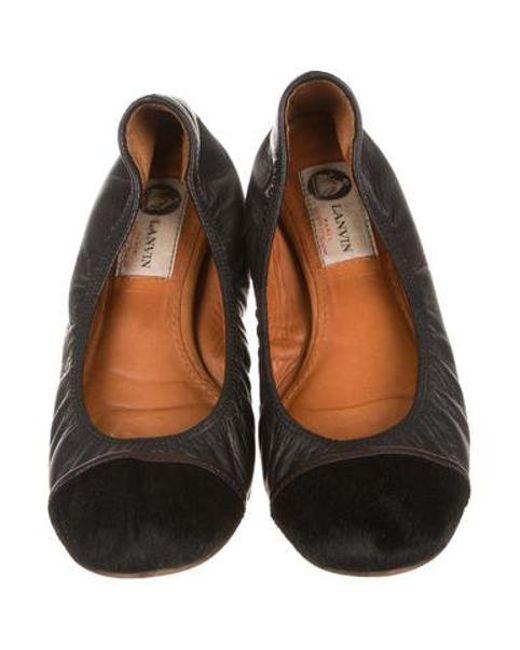970e139140e ... Lanvin - Black Cap-toe Ballet Flats - Lyst ...