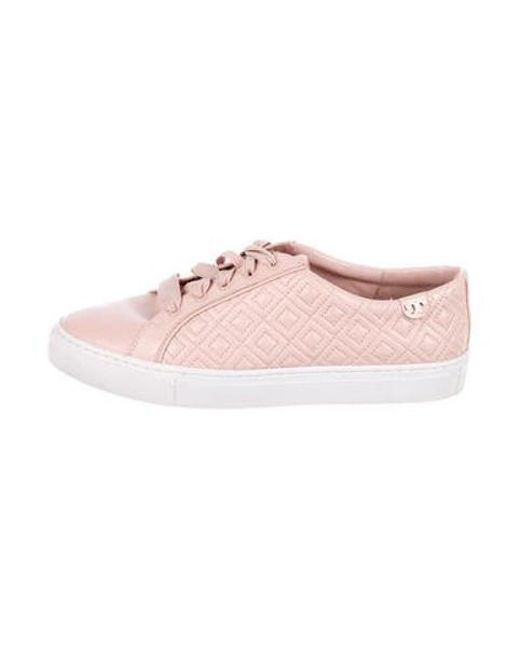 43a4cd77e24e Tory Burch - Metallic Leather Round-toe Sneakers Pink - Lyst ...