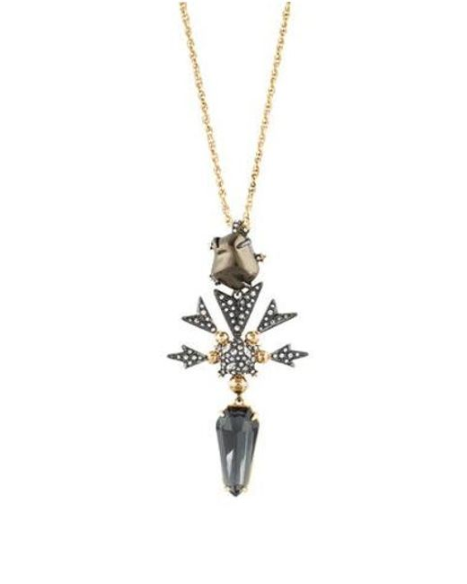 Alexis Bittar - Metallic Faux Pearl & Crystal Starburst Pendant Necklace Gold - Lyst