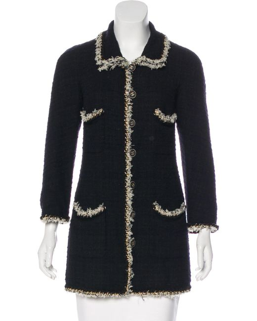 Chanel - Black Embellished Bouclé Coat - Lyst