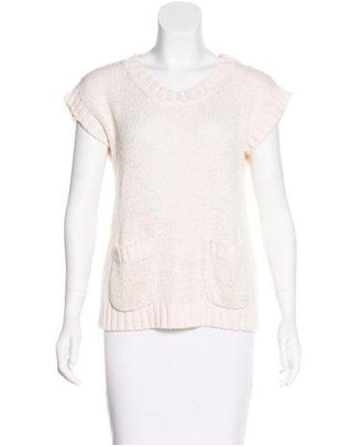 Les Prairies de Paris - Natural Knit Short Sleeve Top Neutrals - Lyst