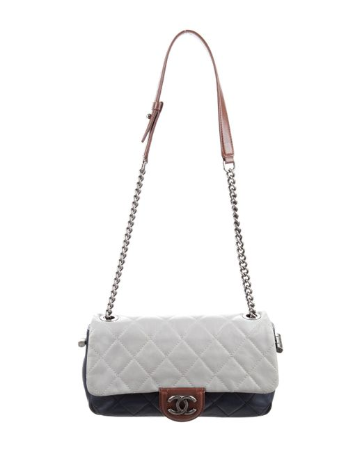 Chanel - Metallic Country Chic Flap Bag Navy - Lyst