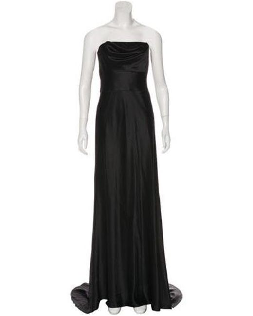 Lyst Vera Wang Silk Evening Dress In Black