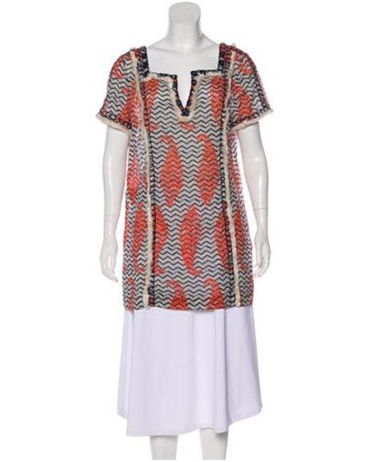 b1a084beff9 Tory Burch - Natural Fringe-trimmed Printed Tunic Blue - Lyst ...