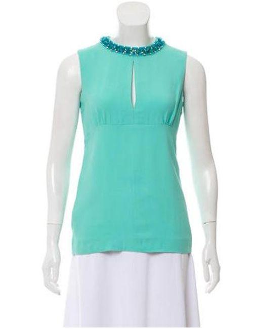 713153fe5d81 Miu Miu - Green Miu Embellished Sleeveless Top - Lyst ...