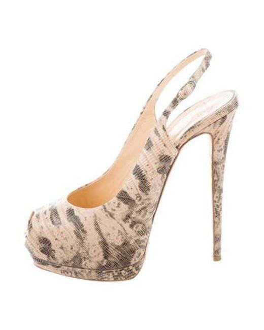 0045a11bac7 Giuseppe Zanotti - Natural Embossed Peep-toe Pumps Tan - Lyst ...