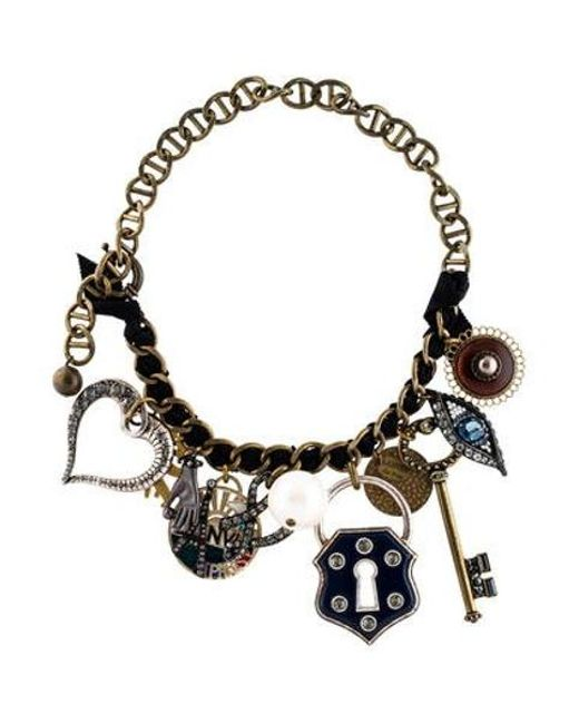 Lanvin - Metallic Lucky Charm Necklace Brass - Lyst
