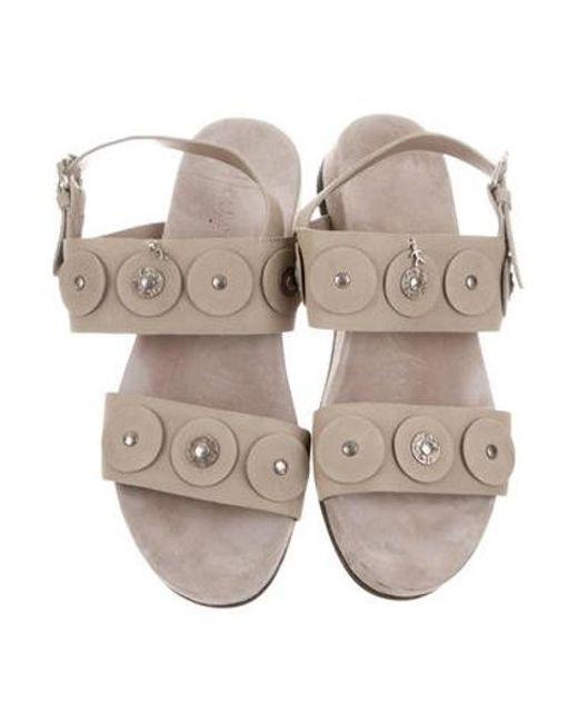 2ccafc53fda5fa ... Henry Beguelin - Natural Suede Embellished Sandals Beige - Lyst ...