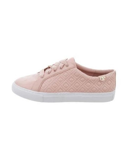 f83e6c33a47e Tory Burch - Pink Leather Round-toe Sneakers - Lyst ...