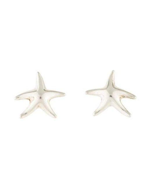 Tiffany Co Metallic Starfish Stud Earrings Silver