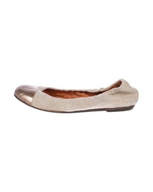 ef3167a38cb Lanvin - Metallic Canvas Cap-toe Flats Beige - Lyst ...