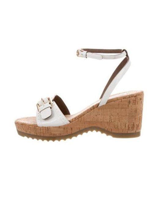 ba89c533a Stella McCartney - White Vegan Leather Wedge Sandals - Lyst ...