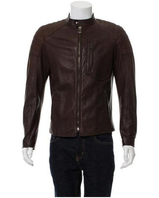 ea3f571b4e44 Belstaff - Brown Leather Moto Jacket for Men - Lyst ...