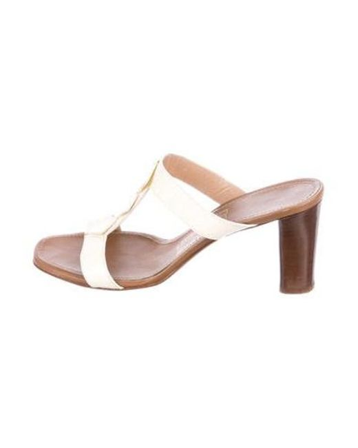 a716ffd992c3 Ferragamo - Natural Leather Slide Sandals Neutrals - Lyst ...