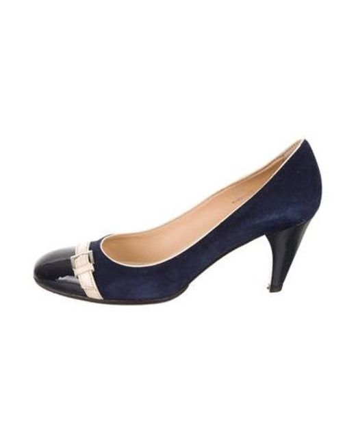 542b95f622b Tod s - Blue Suede Square-toe Pumps - Lyst ...