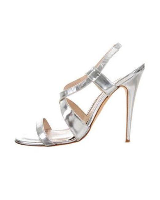 5b102e7c268 Manolo Blahnik - Metallic Leather Slingback Sandals Silver - Lyst ...