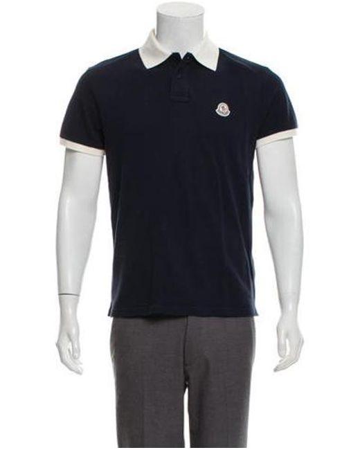 1c83ab8c20e8 Lyst - Moncler Pique Applique Polo Navy in Blue for Men