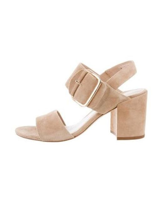 fcc18cd0f54 Stuart Weitzman - Natural Suede Ankle Strap Sandals Tan - Lyst ...