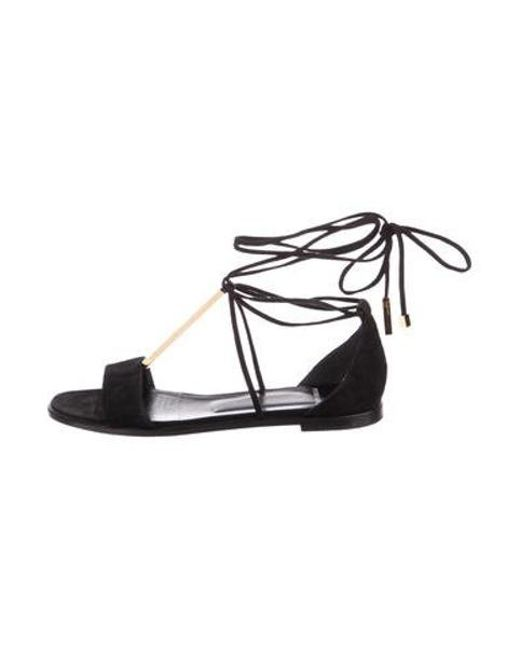 c0ef30d77b33b7 Pierre Hardy - Metallic Suede Wrap-around Sandals Black - Lyst ...