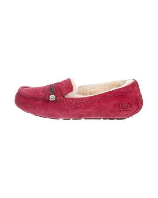 2d898f6a926 Ugg - Red Embellished Suede Loafers - Lyst ...