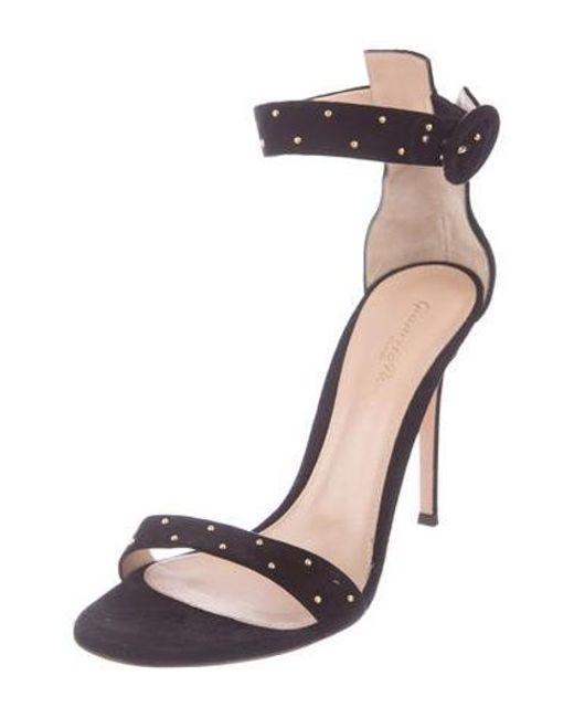 e3721b47ca10 ... Gianvito Rossi - Metallic Suede Embellished Sandals Black - Lyst ...