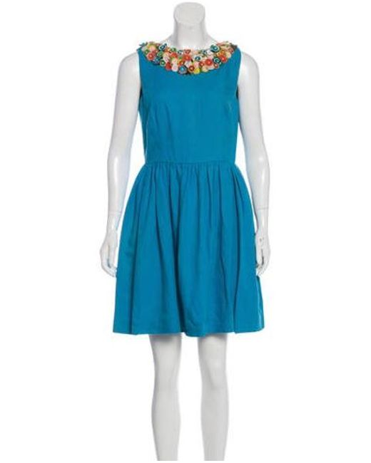 6d606f5b1b97 RED Valentino - Blue Embroidered Mini Dress Aqua - Lyst ...