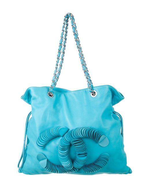 Chanel | Metallic Disc Bon Tote Turquoise | Lyst